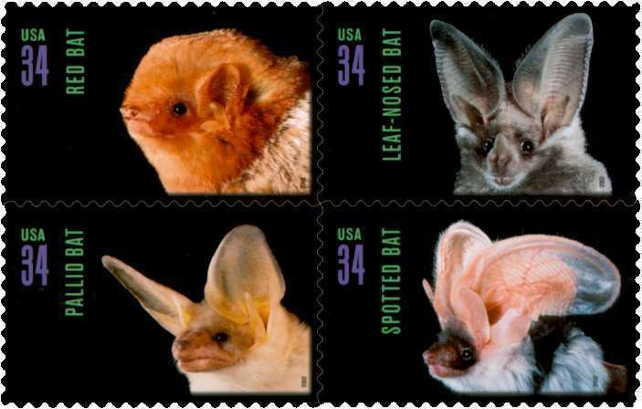 2002 37c American Bats, Block of 4 Scott 3661-64 Mint F