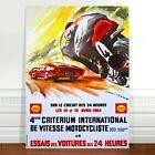 "Vintage Motor Racing Poster Art ~ CANVAS PRINT 8x12"" ~ Criterium International"