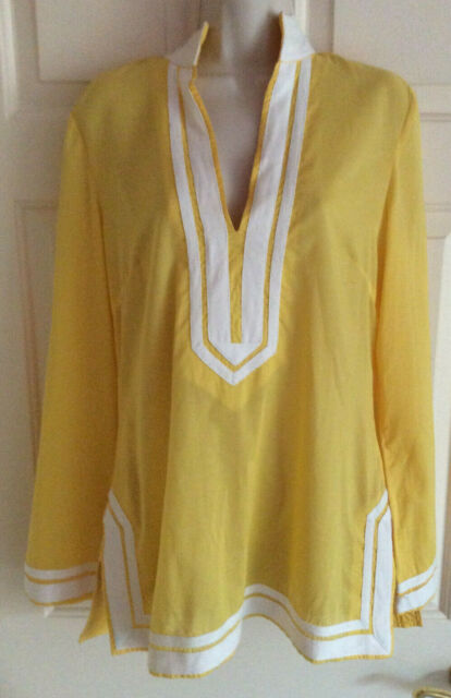 TORY BURCH Long Sleeve V-Neck Yellow with White Trim Cotton Tunic Top ~ Size 8