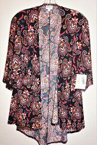 Nuovo-con-etichette-lularoe-WOMEN-039-S-SZ-SMALL-Lindsay-Apri-Cardigan-Kimono-Nero-Floreale-Paisley