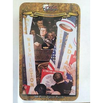 "500 PIECE JIGSAW PUZZLE NORMAN ROCKWELL COLLECTORS TIN ""A Time For Greatness"""