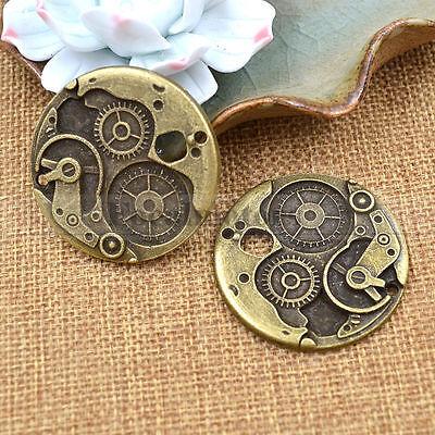 2pcs Retro Bronze Round Wheel Gear Charms DIY Necklace Jewelry Making 38mm