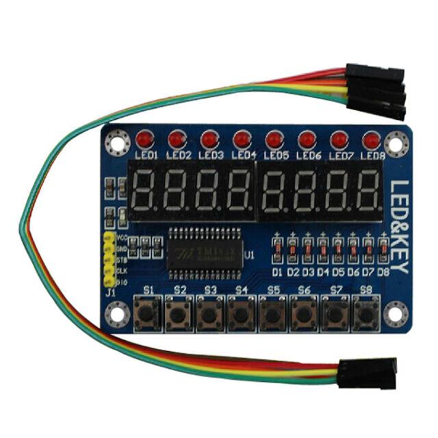 1Pcs TM1638 8-Bit LED Digital Tube 8 Keys Display Module for Arduino+Free Cable