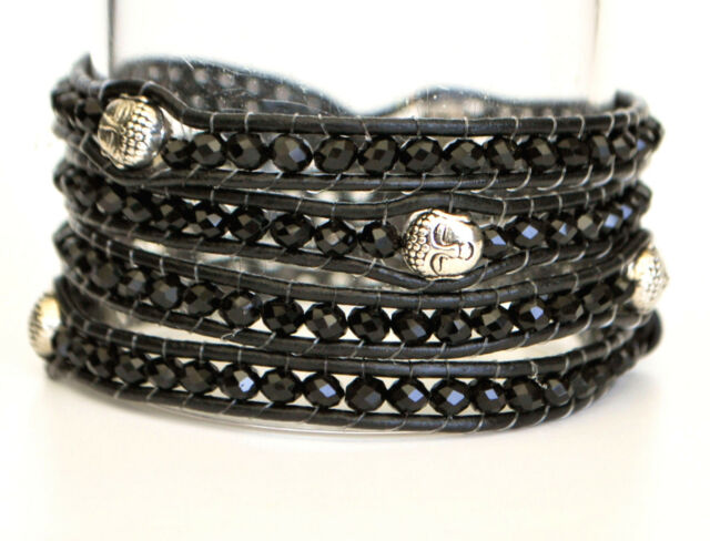 Handcrafted Black Leather and Silver Buddha Head Beaded Wrap Bracelet Gift Boxed