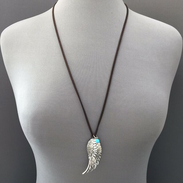 Bohemian Style Silver Finish Angel Wing Pendant Bead Decor Long Suede Necklace