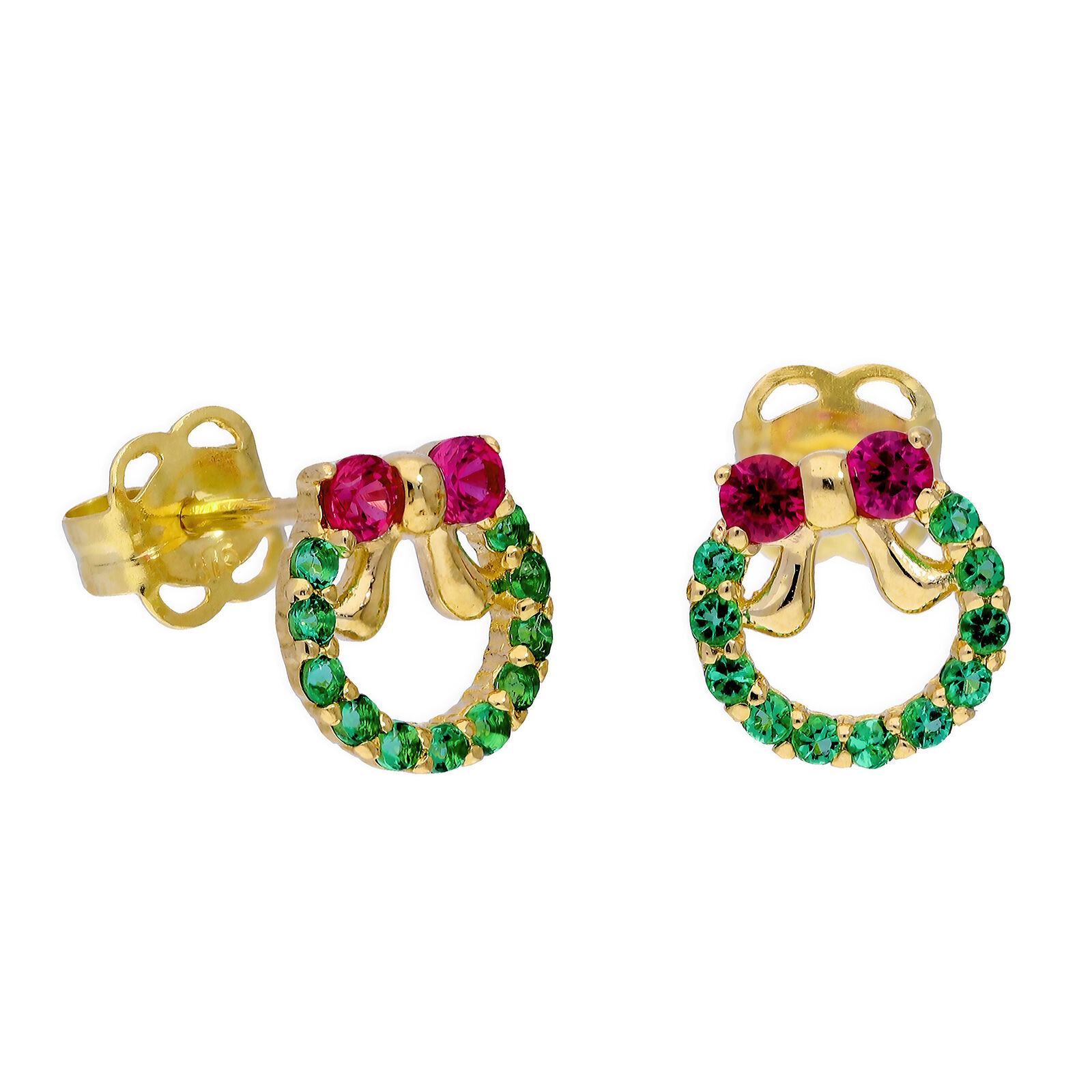 9ct gold Ruby CZ & Emerald CZ Colourful Christmas Wreath Stud Earrings Festive