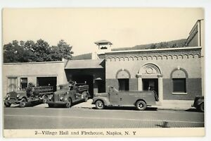 RPPC-Village-Hall-Firehouse-Firefighting-NAPLES-NY-Ontario-Real-Photo-Postcard