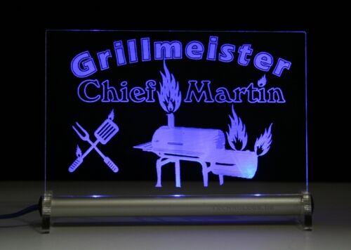 Text Name nach Wunsch Gillen Steak cooking chef Grillmeister LED Leuchtschild