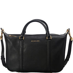 4b9912f9a4a1 Image is loading Michael-Michael-Kors-Raven-Large-Black-Leather-Satchel-