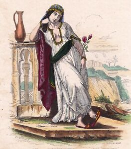 Gravure-XIXe-Femme-Marocaine-Maroc-Morocco-Woman-1850
