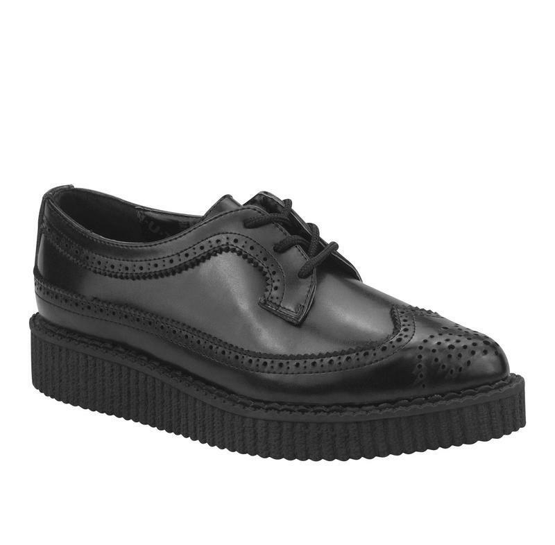 T.U.K A8644 Negro  Leather Leather Leather Wingtip Brogue Tie Pointed Creeper 6c674b