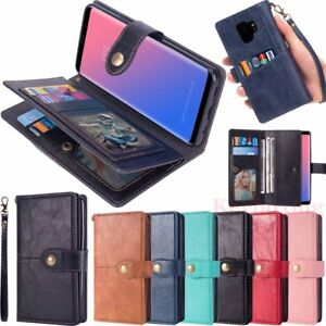 For Samsung Galaxy Note 9 S10 S9 S8 S7 Case Cover Card Wallet Flip Leather Stand
