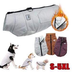 s-5XL-PU-Large-Dog-Pet-Clothes-Padded-Coat-Winter-Warm-Jacket-Vest-Waistcoat-Zip
