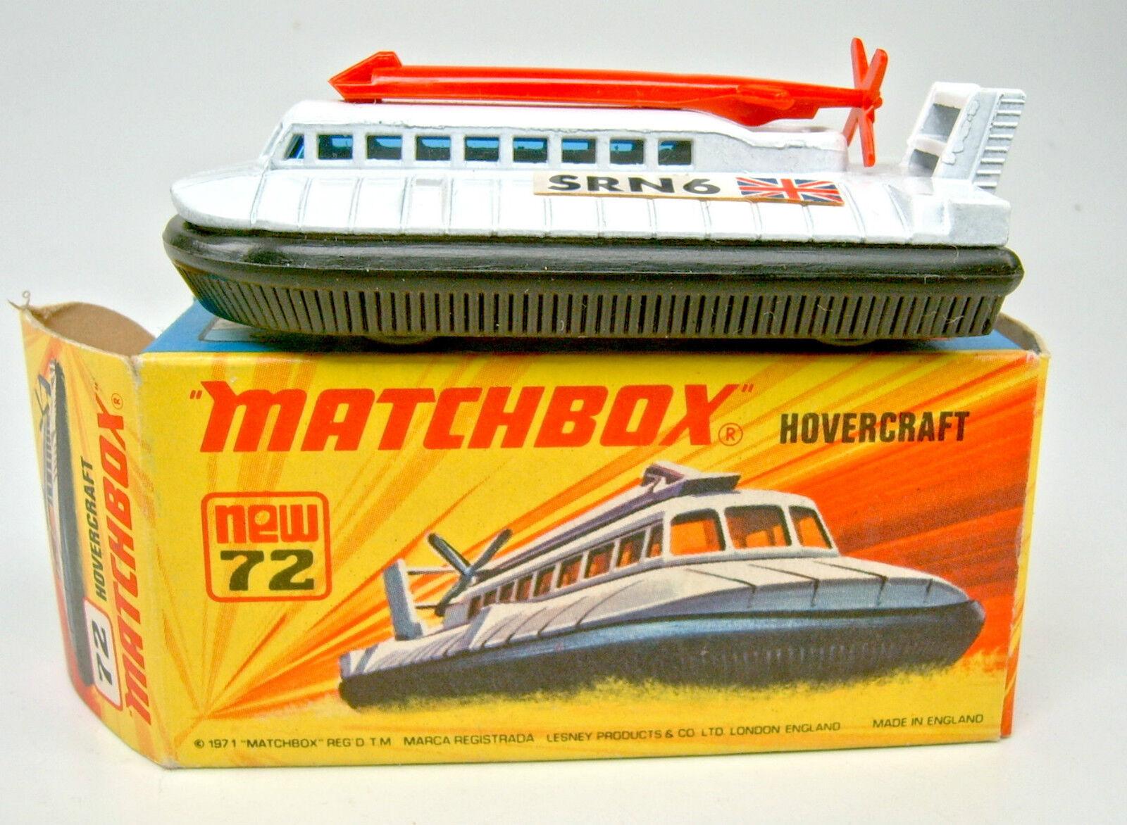 Matchbox SF Nr.72B Hovercraft white   black silverne 5 spoke Räder top in Box