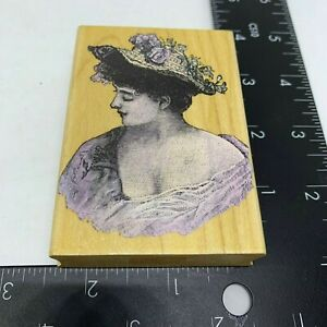 Hero-Arts-Rubber-Stamp-Romantic-Portrait-Woman-in-the-20-039-s-Fashion-Wood-Mount