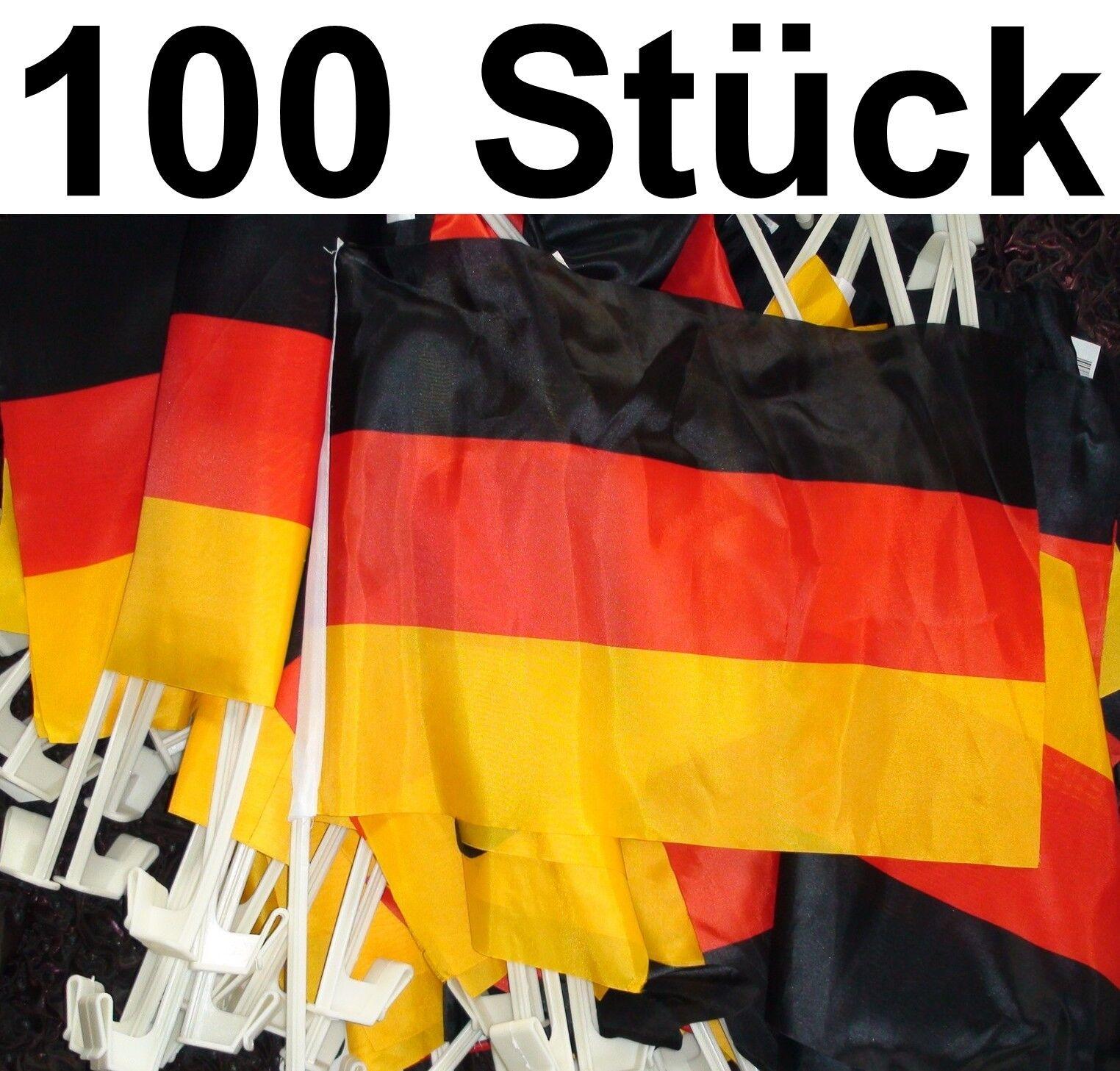 100x AUTOFAHNE DEUTSCHLAND AUTOFAHNEN FUßBALL WM EM FAHNE FLAGGE AUTOFLAGGE AUTO