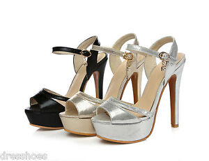 Women-039-s-Platform-Shoes-Peep-Toe-Pumps-High-Heel-Ankle-Strap-Sandals-AU-Size-S315