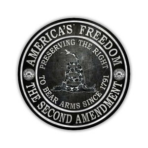 Novelty-Sign-2nd-Amendment-Gadsden-Flag-Right-To-Bear-Arms-12-034-Round-Metal