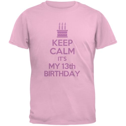 Keep Calm 13th Birthday Girl Light Pink Youth T-Shirt