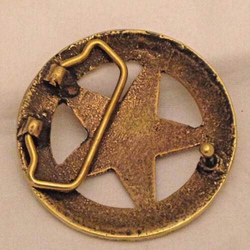 Texas Ranger Badge Belt Buckle Brass