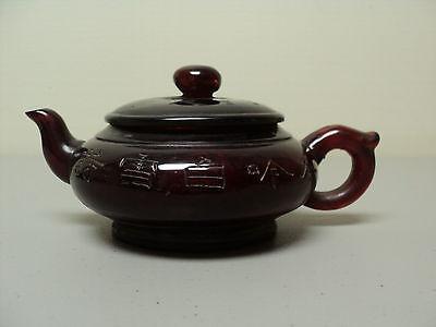 VertrauenswüRdig Antik Chinesisch Cherry Bernstein Individuell Teekanne,eingeschnitten Dekoration Die Neueste Mode