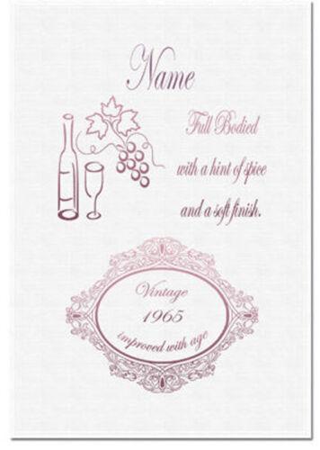 Torchon personnalisé étiquette de vin cadeau idéal design amusant nom et âge