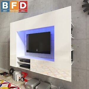 White High Gloss Living Wall Unit TV Cabinet TV Unit Wall Mounted TV - White gloss wall units living room