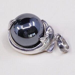 Vtg-925-Sterling-Silver-Handmade-dolphin-Pendant-W-Hematite-Bead