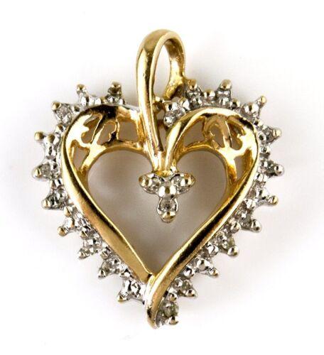 Femme Diamant .10 CT I//SI1 GIA Spec pendentif en forme de cœur en 10k solide or jaune