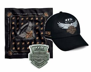 harley davidson ensemble cadeau cap bandana pin 115th anniversaire coffret ebay. Black Bedroom Furniture Sets. Home Design Ideas