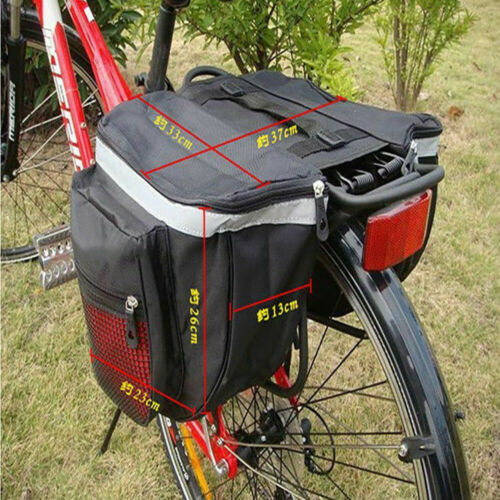 Details about  /Heavy Duty Double Panniers Bag Bike Bicycle Cycling Rear Seat Trunk Rack Pack