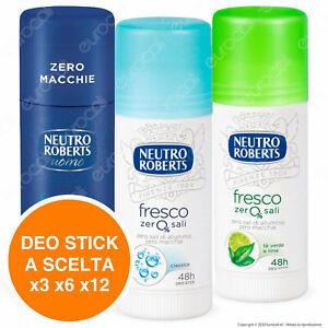 Neutro Roberts Deodorante Stick Roll On Fresco Zero Sali Macchie Corpo x3 x6 x12