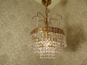 antik   Kronleuchter Stufen  Lüster Deckenlampe  Messing Gold Kristall ca.1920