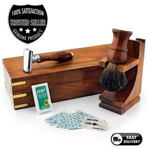 VINTAGE-Set-da-barba-Rasoio-con-doppio-bordo-Badger-Pennello-Stand-amp-scatola-in-legno-per-regalo