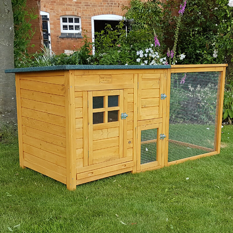 Chicken coop run hen house poultry ark home nest box for Simple rabbit hutch