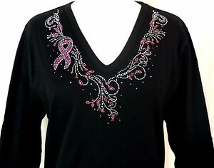 PLUS-2X-Hand-Embellished-Iridescent-Rhinestone-Pink-Breast-Cancer-Awareness-Top