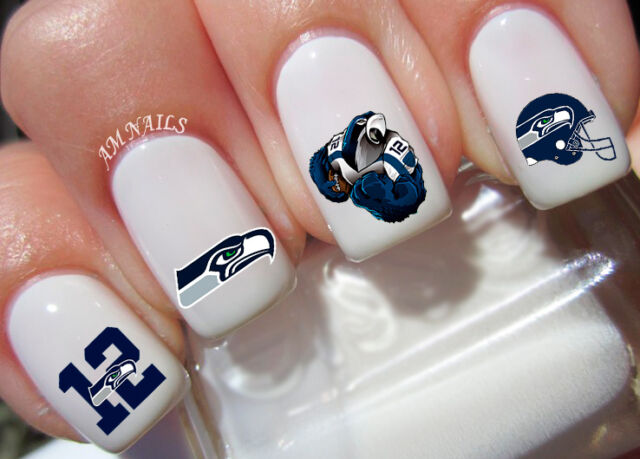Seattle Seahawks Nail Art Stickers Transfers Decals Set Of 58
