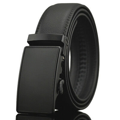 Fashion Casual Solid Black Leather Mens Belt Automatic Buckle Waistband Strap