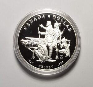 Canada 1990 Henry Kelsey Buffalo Silver $1.00 One Dollar Coin Proof