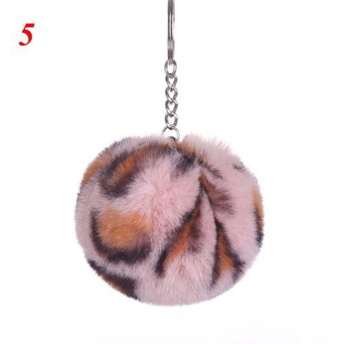 Peluche Faux Fourrure de Lapin Pompon clé Boucle Leopard Pattern Porte-clés rond Keychain
