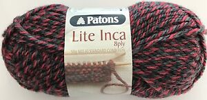 50g-Balls-Patons-Lite-Inca-8ply-70-Wool-Alpaca-Red-amp-Black-011-3-95