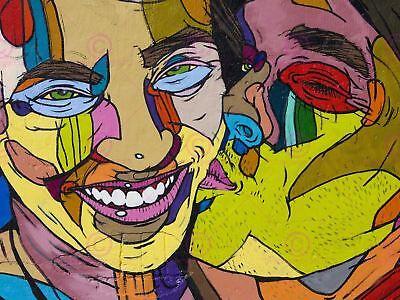 100% Wahr Painting Illustration Cool Graffiti Kissing Faces Art Print Poster Mp5326a Reinweiß Und LichtdurchläSsig