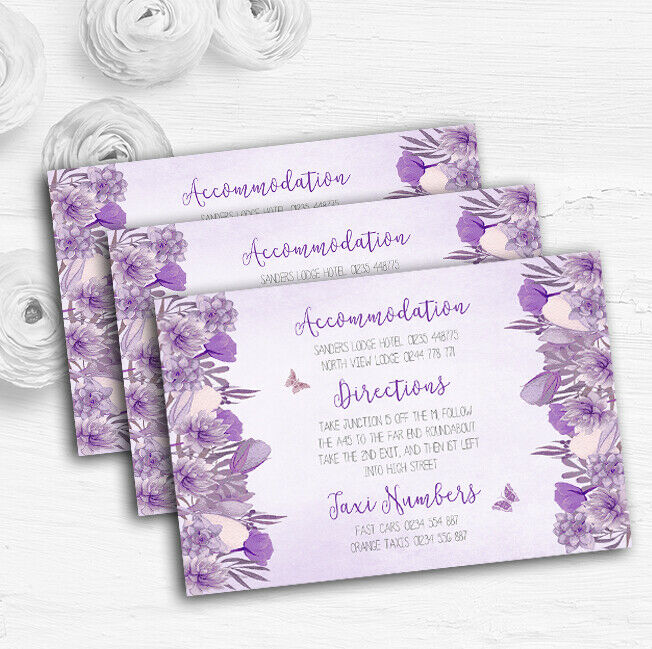 Cadbury lila & Lilac Watercolour Floral Wedding Guest Information Cards