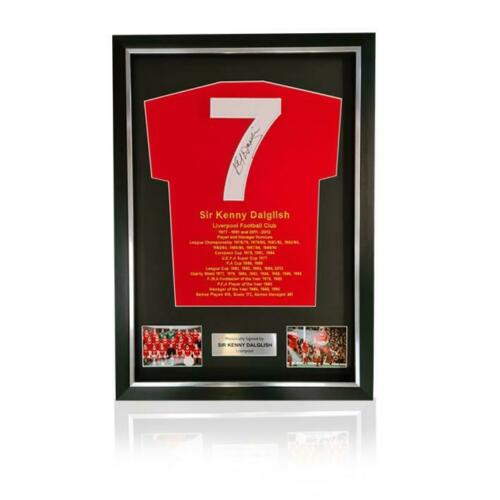 Kenny Dalglish Hand Signed #7 /& Career Honours Presentation Shirt in Deluxe Clas