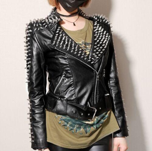 cloutée Nouvelle en spike manteau veste veste cuir punk moto épaule U7ZSUqPnRw