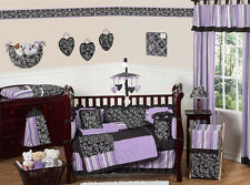Purple Black and White Baby Crib Bedding Set for Newborn Girl Sweet Jojo Designs