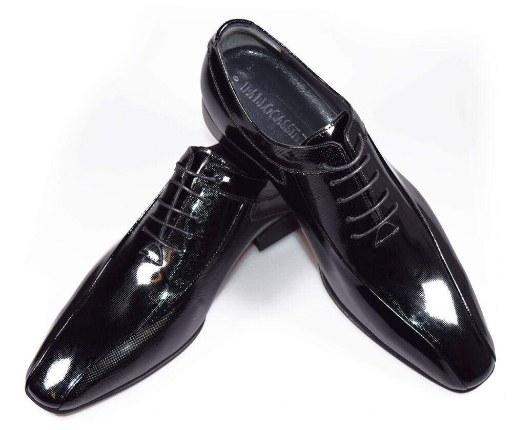 PABLO CASSINI Herren Smoking Schuhe Oxford Lack Leder Hochzeitsschuhe 310-schwarz