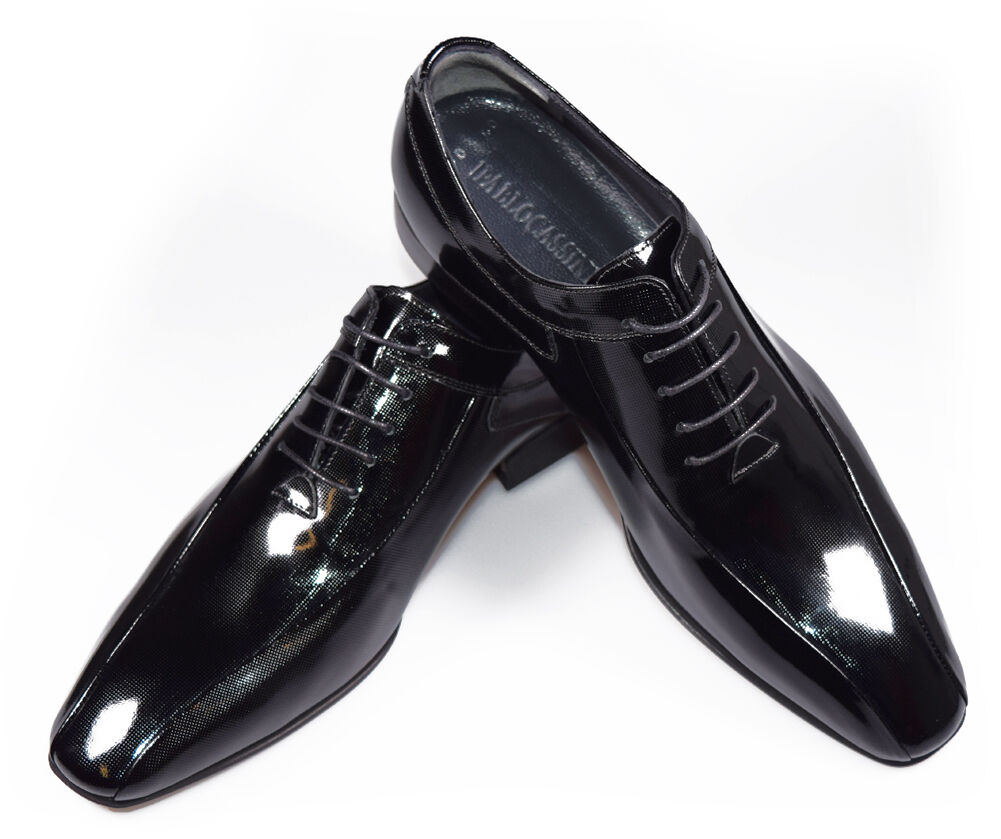 PABLO CASSINI Herren Smoking Schuhe Oxford Lack Leder Hochzeitsschuhe 310-BLACK