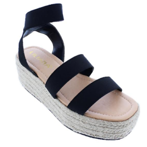 c368fdcd1695 Liliana RASHA-14 Black Ankle Strap Open Toe Natural Espadrille ...