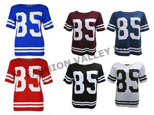 WOMENS-85-PRINT-VARSITY-T-SHIRT-OVERSIZE-AMERICAN-BASEBALL-BAGGY-JERSEY-TOP-8-14